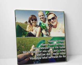 Collage Canvas Lyrics, Collage Print, Collage Lyrics, Birthday Song, Custom Gift, Collage maker, Birthday Canvas, Custom Birthday Canvas