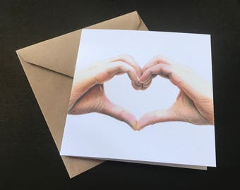 Hand Drawn Heart Hands Greetings Card - Recycled - blank - Print - Love, Valentine, Thank You, Friendship, Just Because, Miss You, Wedding