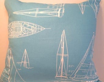 Blue Boats 20 inch Pillow Cover