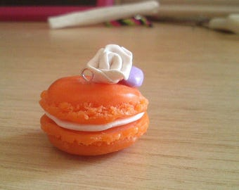 HANDMADE ORANGE MACARON Charm  Made out of polymer clay.