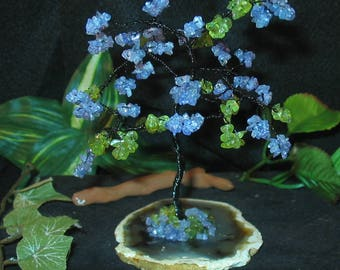 Tanzanite and Peridot Handmade Wire Wrap Gemstone Tree~~great color combo !