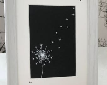 Time to Fly dandelion drawing - simple dandelion drawing with floating petal, can be personalised and choice of colours