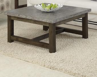 Concrete Classic Coffee Table Wood Handmade