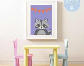 Woodland Raccoon Bunting Name Nursery Print, Customize your own. Choose your own colour and name!