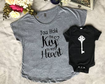Matching t shirt, You Hold The Key To My Heart womens t shirt, mothers day, baby shower, birthday