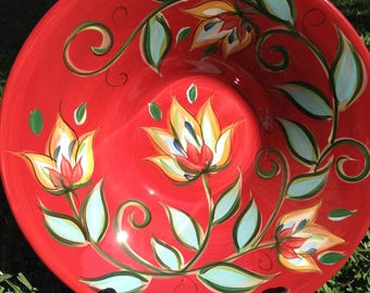 Southern Living at Home Red Floral Bowl 15.5""