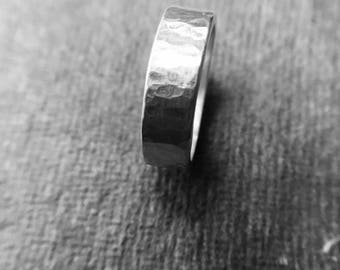 Heavy hammered silver ring - size uk Q .wedding ring