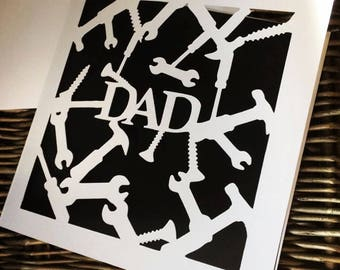Fathers Day card papercut tools