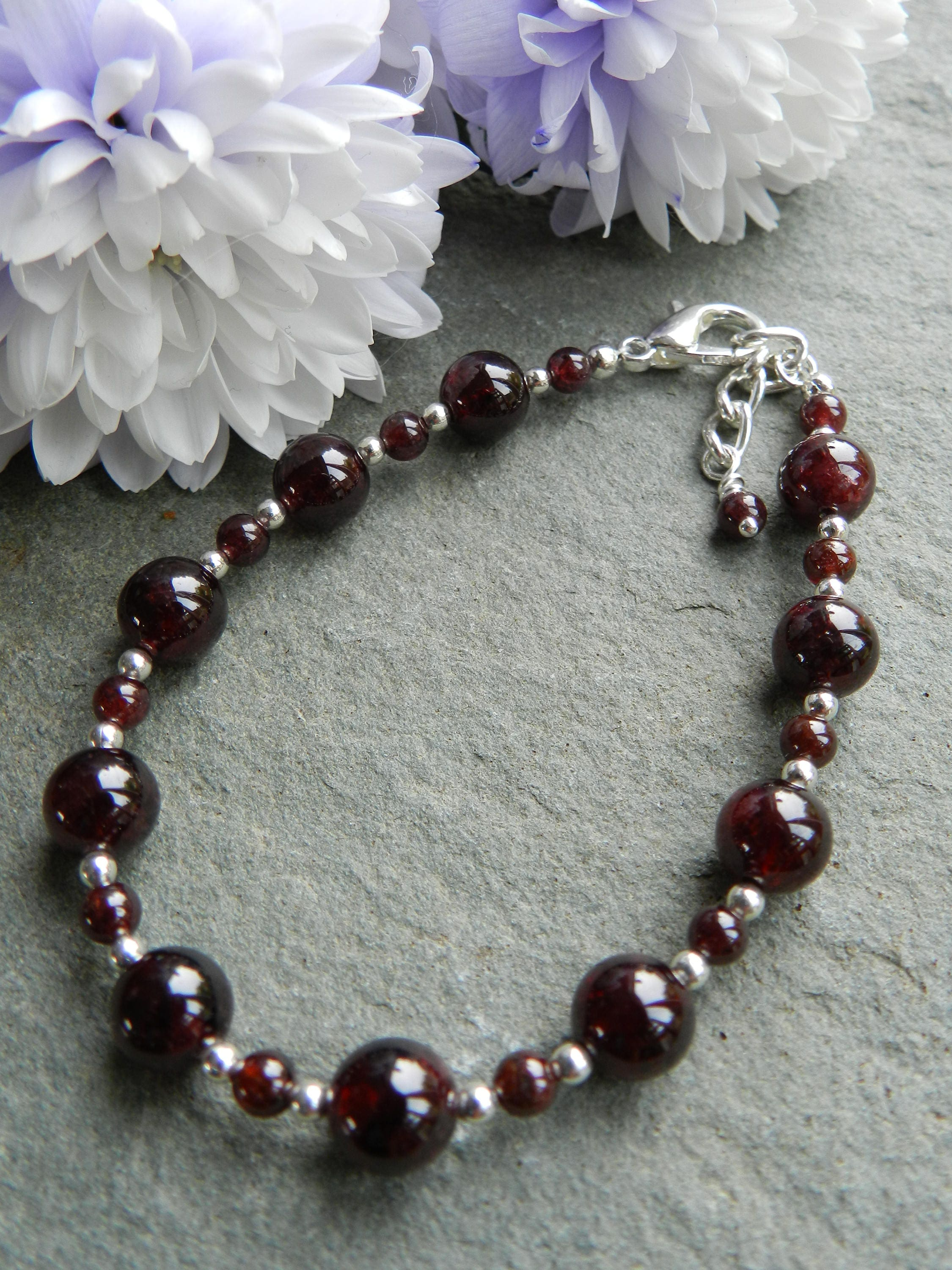 products red rosary thread style angelo bracelet with dark s di garnet