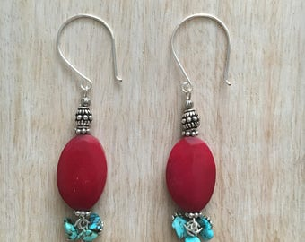 Red Bone and Turquoise Earrings