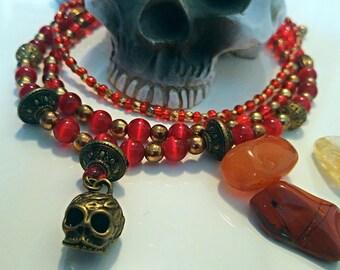 Three Strand Skull and Bead Neccklace