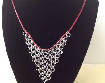 Chainmaille Stainless Steel anf GlasPendant with Cord Necklace