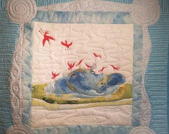 Blue Hippo baby quilt