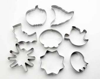 8pcs/Set Halloween Cookie Cutters- Fondant Biscuit Mold - Pastry Baking Tool Set