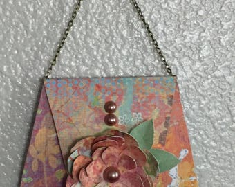 Paper Purse with Flower and Bead Pearls