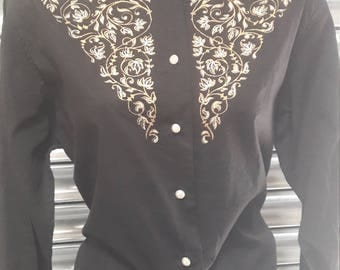 1950s black and gold embroidery top