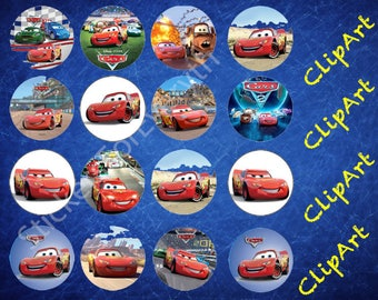 16 Cars Cupcake Toppers-ClipArt - Digital , PNG, image, picture,  oil painting, drawing,llustration, art , birthday,300 DPI, 300 PPI
