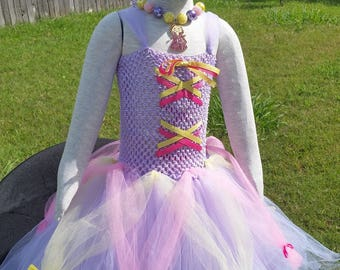 Repunzel tutu dress/Tangled/princess/Inspired by Repunzel/Halloween costume/chunky necklace/bow/Disney