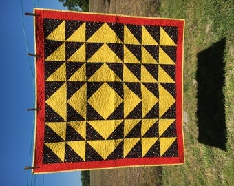 Yellow & Black Polka-Dot Triangles w/ Motorcycles on Back Lap Quilt