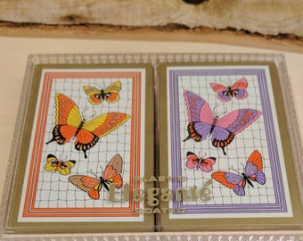 Vintage Plastic Elegante Coated  Playing Cards Nu-Vue Tint- Butterfly Two Decks