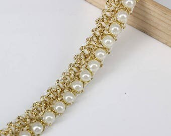 5yard Beaded Pearl White Gold Trimming Lace Ribbon Trim scrapbooking Applique Embellishment Sewing renda For Wedding Dress T1224