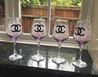 Chanel inspired wine glasses