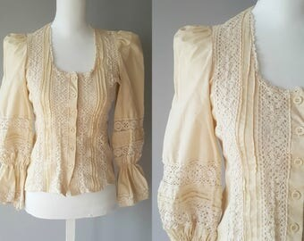 60s Laura Ashley Cream Colored Crocheted Blouse with Puffed Sleeves, Vintage Blouse Theatre Costume