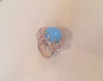 Silver Gold Plated Turquoise and CZ