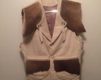 Vintage Custom made Deerskin with antler buttons.