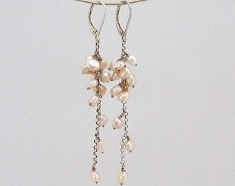 Rose pearl cluster earrings