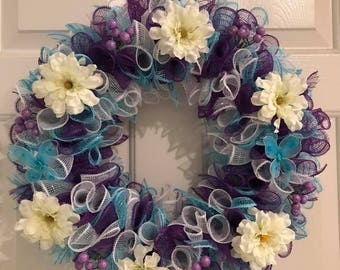 Purple and Blue Spring Wreath