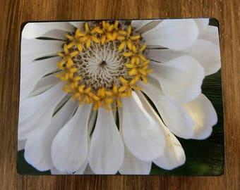 White Flower Photo Wood Block