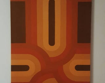"Awesome Mid Century Vintage 70s retro stretched fabric framed art wall hanging-Tampella ""Ovaali"""