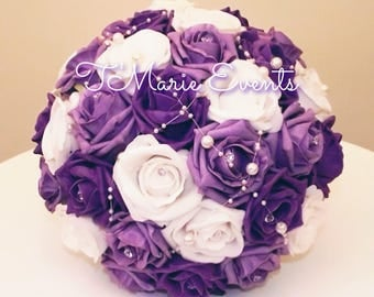 Purple and white rhinestone kissing ball