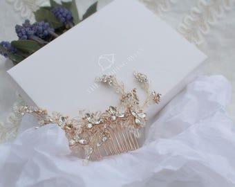 Rose Gold Bridal Head Comb - Flora