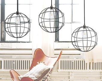 Sale Forged Iron Orbit Pendant Lighting. Iron Pendant Light. Nordic Lighting. Orbit Hanging. Sphere Hanging Lampshade. Scandi Lighting.