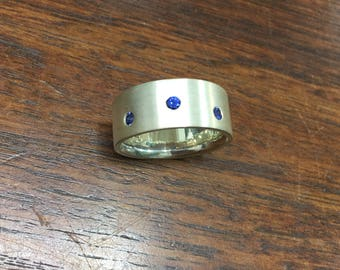 Wide Sterling Silver, diamond cut Ceylon Sapphires statement wedding band dress ring