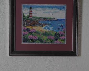 Framed Needle Work Wall Decor Picture 31x29 cm  Lighthouse and Birds Motif
