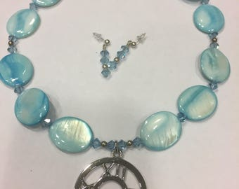 "Blue Mother of Pearl Necklace 18"" long with Crystal earrings"