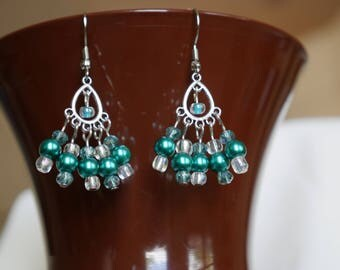 Silver and Teal Pearl Dangly Earrings