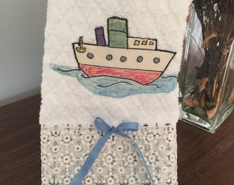 Hand towel with hand painted boat