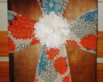 Stained Wood & Burlap Cross