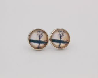 Cabochon earrings tree Lake