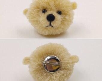 Bear Pom Pom brooch / Animal / Pin / Brooches / Cute Bear