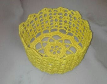 Basket made of crocheted