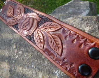 Leather Tooled Bracelet