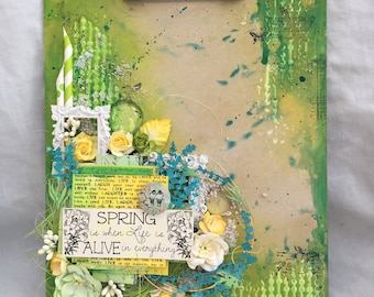 altered mixed media clipboard