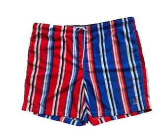 90s vtg vintage tommy hilfiger swim trunks beach shorts stripped old logo beach surf red blue white