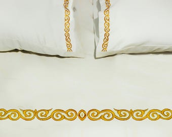 """Bedding-100% Organic 500TC  Queen Size  Bedsheet (92""""x102"""") & Two pillowcases(20""""x30"""")(gold) - available only in Europe"""