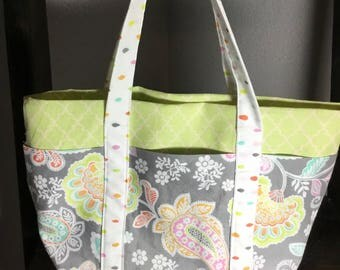 Small Tote Bag with Pockets - Paisley, Lime Green and Gray